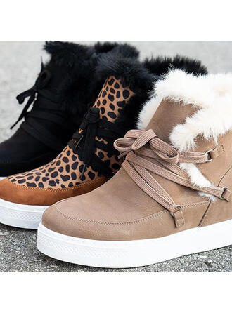 Women's PU Wedge Heel Flat Heel Ankle Boots Round Toe Winter Boots With Lace-up Floral shoes