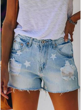 Print Ripped Sexy Vintage Shorts Denim & Jeans