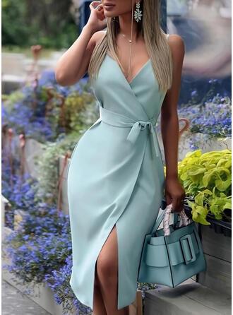 Solid Sleeveless Sheath Wrap/Slip Elegant Midi Dresses
