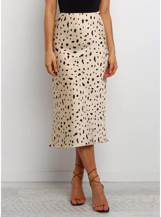 Polyester Animal Print Maxi Pencil Skirts