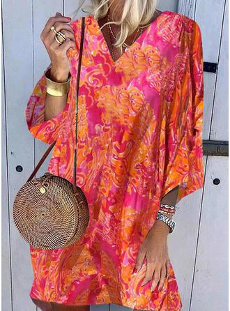 Print 3/4 Sleeves Shift Above Knee Casual/Boho Tunic Dresses