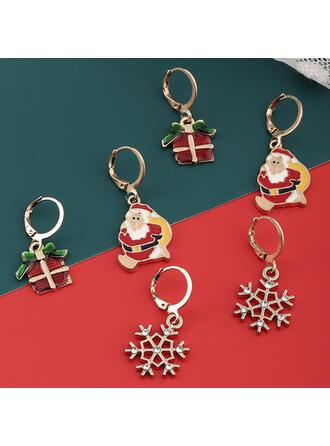 Lysande Jul Julen Santa Legering med Strass örhängen 6 st