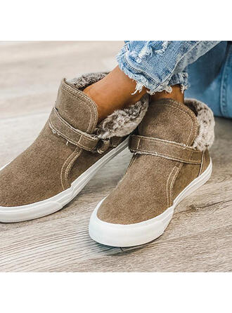 Women's PU Flat Heel Ankle Boots Round Toe Winter Boots With Buckle Lace-up shoes
