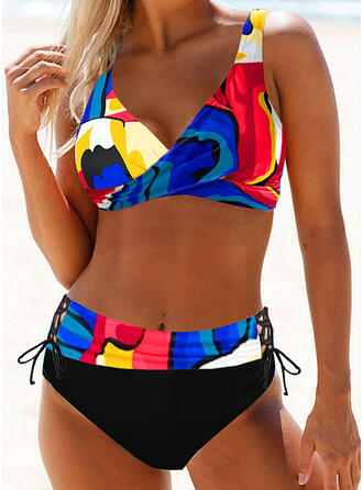 Tryck Rem Sexig Extra stor storlek Boho bikini Badkläder