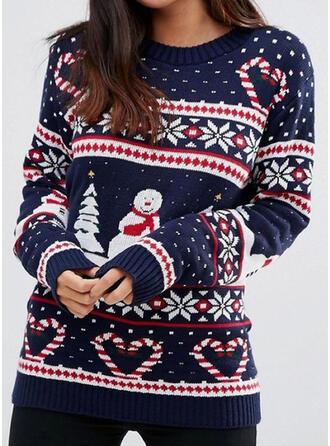 Kvinnor polyester Print Ugly Christmas Sweater