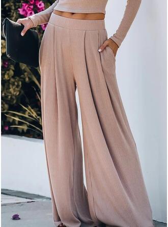 Solid Shirred Extra stor storlek Lång Fritids Elegant Byxor
