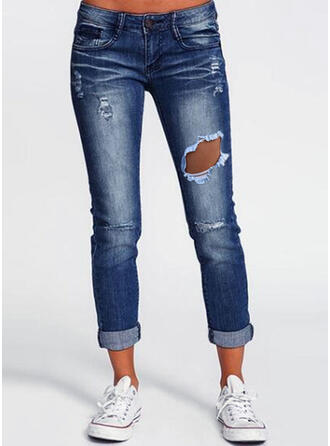 Shirred Ripped Casual Vintage Denim & Jeans