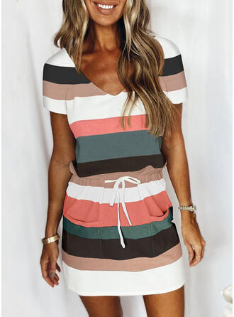 Striped Short Sleeves Sheath Above Knee Casual Dresses