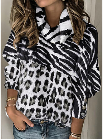 Print High Neck Casual Sweaters