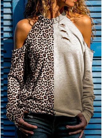 Leopard Kall axel Långa ärmar Fritids Stickning Blusar