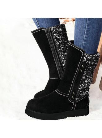 Women's PU Flat Heel Mid-Calf Boots Round Toe Winter Boots With Sparkling Glitter Zipper shoes