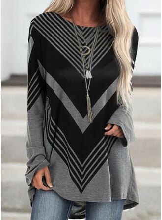 Color Block Striped Round Neck Long Sleeves Sweatshirt