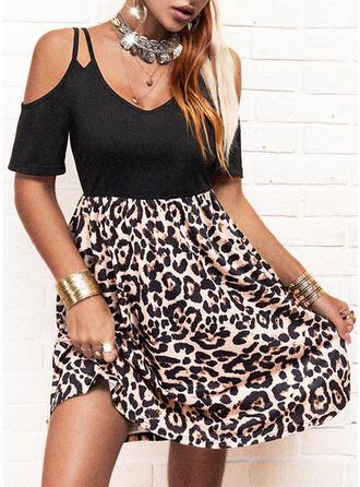 Leopard Short Sleeves A-line Above Knee Casual Skater Dresses
