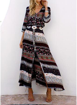 Print Long Sleeves A-line Skater Casual/Boho Maxi Dresses