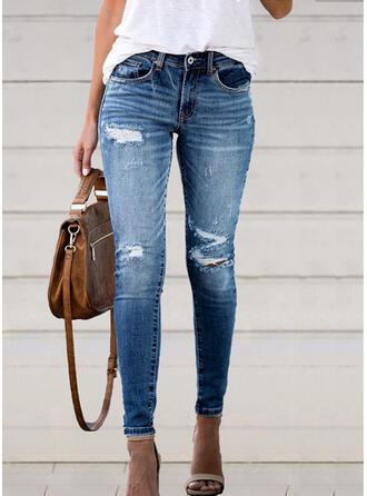 Shirred Rev Lång Elegant Sexig Denim & Jeans