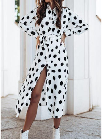 Print/PolkaDot Long Sleeves A-line Shirt/Skater Casual Midi Dresses