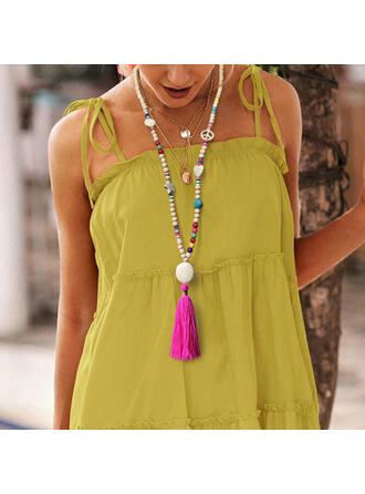 Boho Imitation Turquoise Cotton String Wooden Beads With Tassels Necklaces