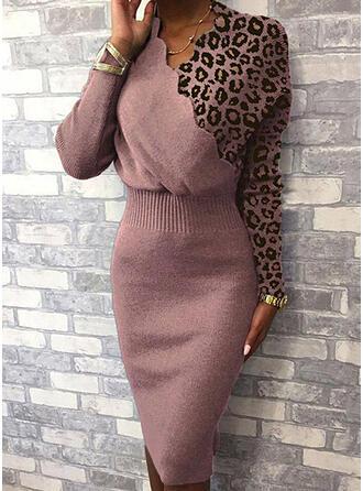 Färg block Leopard V-ringning Casual Lång Tät Tröja klänning