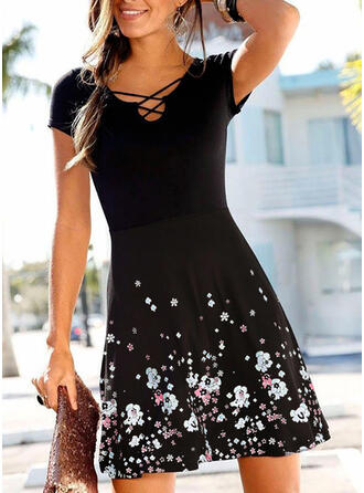 Print/Floral Short Sleeves A-line Above Knee Casual Skater Dresses