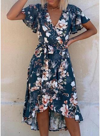 Print/Floral Short Sleeves/Flare Sleeves A-line Asymmetrical Casual/Elegant Wrap/Skater Dresses