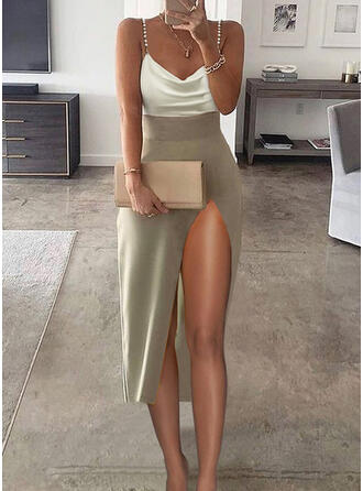 Color Block Sleeveless Sheath Slip Elegant Midi Dresses