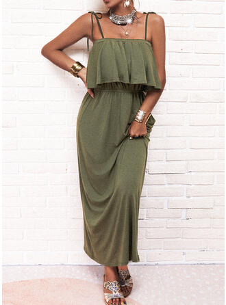 Solid Sleeveless A-line Slip/Skater Casual Maxi Dresses