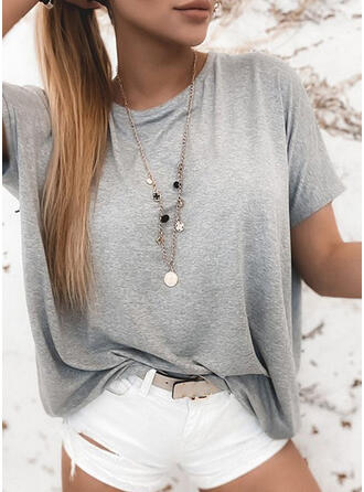 Solid Round Neck Short Sleeves T-shirts