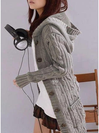 Solid Kabelsticka Klumpig stickning Fickor Hooded Casual Lång Cardigan