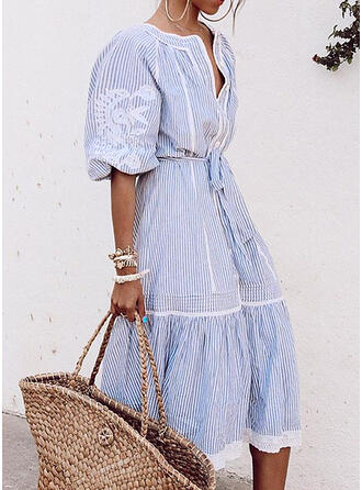 Print/Striped 1/2 Sleeves A-line Skater Casual/Vacation Midi Dresses