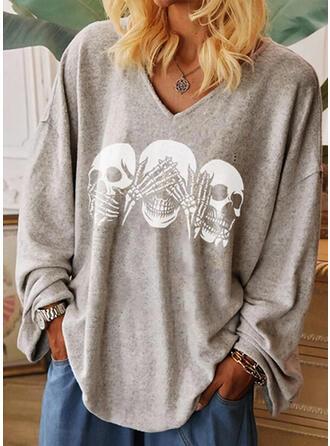 Print V-ringning Långa ärmar Fritids Halloween T-shirts