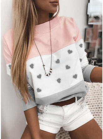 Print Color Block Heart Round Neck Long Sleeves Sweatshirt