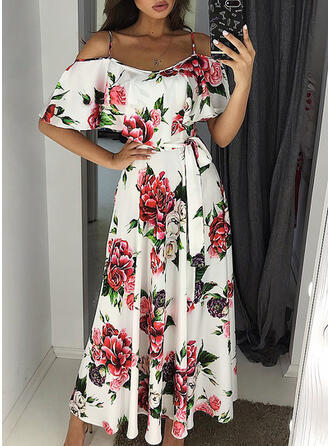 Print/Floral 1/2 Sleeves A-line Skater Casual/Elegant Midi Dresses