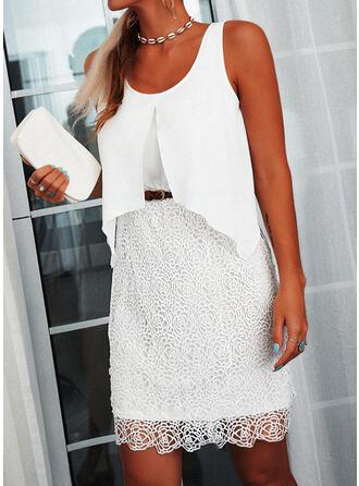 Lace/Solid Sleeveless Sheath Above Knee Elegant Dresses