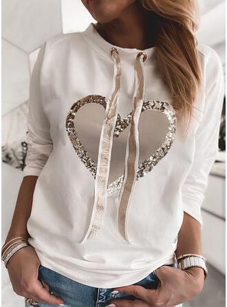 Print Heart Sequins Round Neck Long Sleeves Sweatshirt