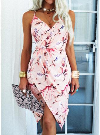 Print/Floral/Backless Sleeveless Sheath Knee Length Casual Slip Dresses