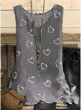 Heart Print V-Neck Sleeveless Tank Tops