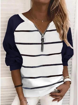 Print Color Block Striped V-Neck Long Sleeves Sweatshirt