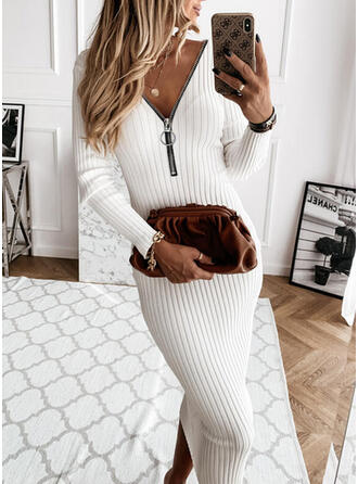 Solid Long Sleeves Bodycon Sweater Little Black/Casual Midi Dresses