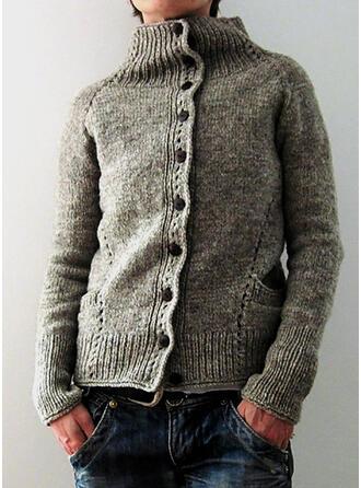 Solid stå Collar Casual Cardigan