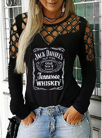 Print Sequins Letter Cold Shoulder Long Sleeves Casual Sexy Blouses