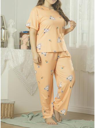 Polyester Print Extra stor storlek Rund-ringning Korta ärmar Pyjamasuppsättning
