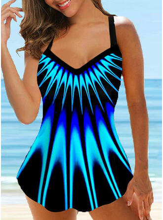 Floral Gradient Strap V-Neck Fashionable Casual Swimdresses Swimsuits