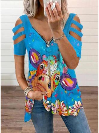 Floral Print Animal Cold Shoulder Short Sleeves T-shirts