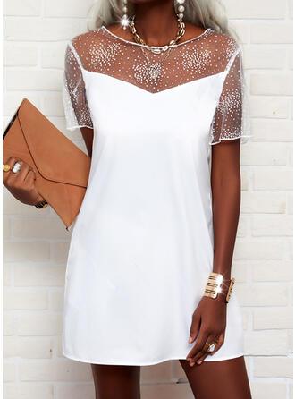 Solid Short Sleeves Shift Above Knee Elegant Dresses