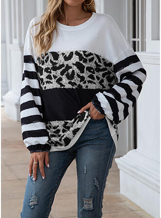 Print Color Block Striped Leopard Round Neck Long Sleeves