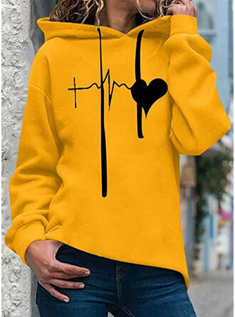 Print Heart Long Sleeves Hoodie