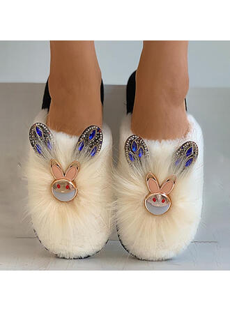 Women's Suede Flat Heel Flats Low Top Slip On With Animal Print Faux-Fur shoes