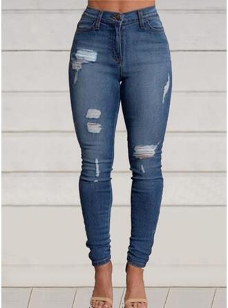 Shirred Rev Lång Fritids Elegant Denim & Jeans