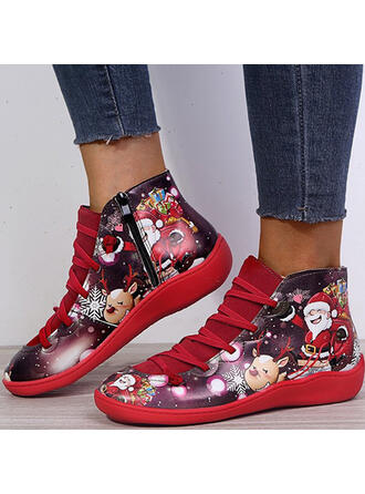 Women's PU Flat Heel Ankle Boots Round Toe With Lace-up Flower Splice Color shoes