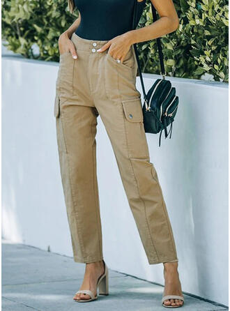 Solid Pockets Casual Solid Pants